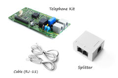 Telephone kit or FAX kit with splitter and cable Royalty Free Stock Photos