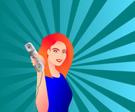 telephone kvinnan stock illustrationer