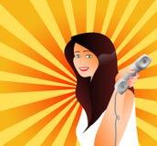 telephone kvinnan royaltyfri illustrationer
