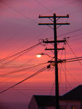 Telephone line silhouette. Silhouette of telephone lines with sunset Stock Photography