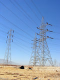 Telephone Line Tower. Telephone line and electricity towers in the desert Royalty Free Stock Image