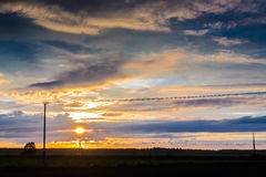 Telephone Lines Against Sunset Stock Image