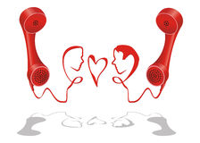 Telephone love line. Man and woman face grown from telephone cord Royalty Free Stock Photos