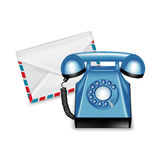 Telephone and mail envelope isolated Royalty Free Stock Photo