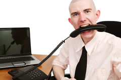 Telephone and man Royalty Free Stock Photo