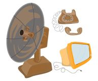 Telephone monitor antenna. Artistic drawings of an antique dial telephone, microwave communication dish and a computer monitor Stock Photo