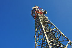 Telephone, monitoring and antenna tower Royalty Free Stock Images