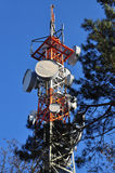 Telephone, monitoring and antenna tower Stock Image