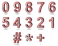 Telephone Numbers. 3d rendered numbers whit chrome metal material and red glass Royalty Free Stock Photography