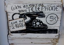 Telephone old sign Stock Image