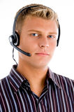 Telephone operator busy on phone call Royalty Free Stock Photo
