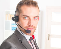 Telephone Operator in call center Stock Photography