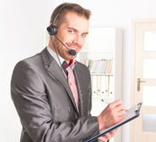 Telephone Operator in call center Royalty Free Stock Photo