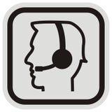 Telephone operator with headphones. Head od man at frame. Stock Photos