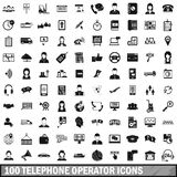 100 telephone operator icons set, simple style. 100 telephone operator icons set in simple style for any design vector illustration Stock Photo