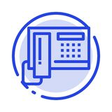Telephone, Phone, Cell, Hardware Blue Dotted Line Line Icon vector illustration
