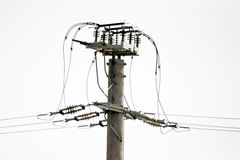Telephone Pole. With wires stock image