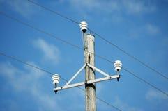Telephone pole. Old style telephone pole against blue sky Royalty Free Stock Photography