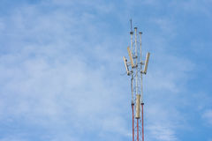 Telephone pole with blue sky background. stock photography