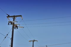 Telephone pole and cables Stock Image