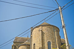Telephone pole and church Royalty Free Stock Photos