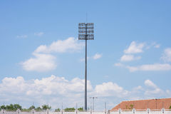 Telephone pole with clear blue sky. Stadium before the match of the tournament Royalty Free Stock Image