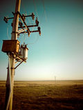 Telephone pole in field. Lonely telephone pole Inner Mongolia Stock Photos