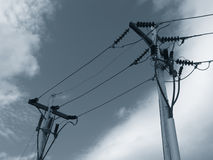 Telephone pole and lines Stock Photos