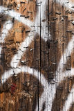 Telephone pole with metal staples and white graffiti Stock Image