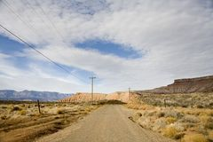 Telephone pole in the middle of nowhere Stock Photo