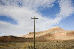 Telephone pole in the middle of nowhere Stock Image