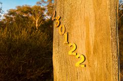 Telephone pole numbers in sunset Royalty Free Stock Photo