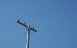 Telephone pole and power lines Royalty Free Stock Photo