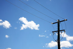 Telephone pole with wires Royalty Free Stock Photos