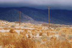 Telephone poles in desert Stock Photos