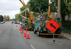 Telephone Poll Workers Royalty Free Stock Photography