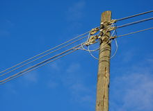 Telephone post. With blue sky Stock Images