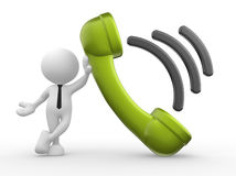 Telephone receiver. 3d people - man, person with a telephone receiver Royalty Free Stock Photos