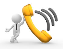 Telephone receiver. 3d people - man, person with a telephone receiver Royalty Free Stock Photo