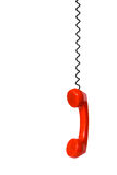 Telephone receiver and cable Royalty Free Stock Images
