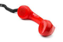 Telephone receiver and cable Stock Images