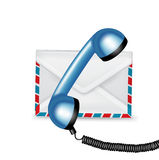 Telephone receiver and mail envelope Royalty Free Stock Images