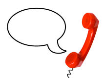 Telephone receiver and speech bubble Stock Photography