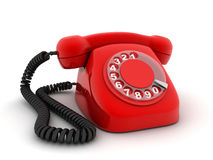 Telephone red. Red old telephone (done in 3d, isolated Stock Photography