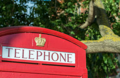 Telephone red booth in London.  Royalty Free Stock Photos