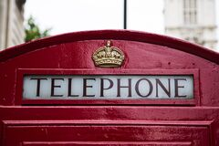 Telephone Red Gold Crown Booth Stock Image