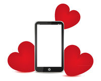 Telephone and red hearts Stock Photography