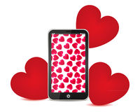 Telephone and red hearts Stock Photo