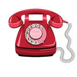 Telephone red, vector old rotary phone Royalty Free Stock Photos