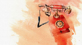 Telephone red. Watercolor style vintange red phone Royalty Free Illustration